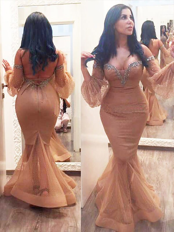 Trumpet/Mermaid Beading Off-the-Shoulder 3/4 Sleeves Floor-Length Silk like Satin Plus Size Dresses
