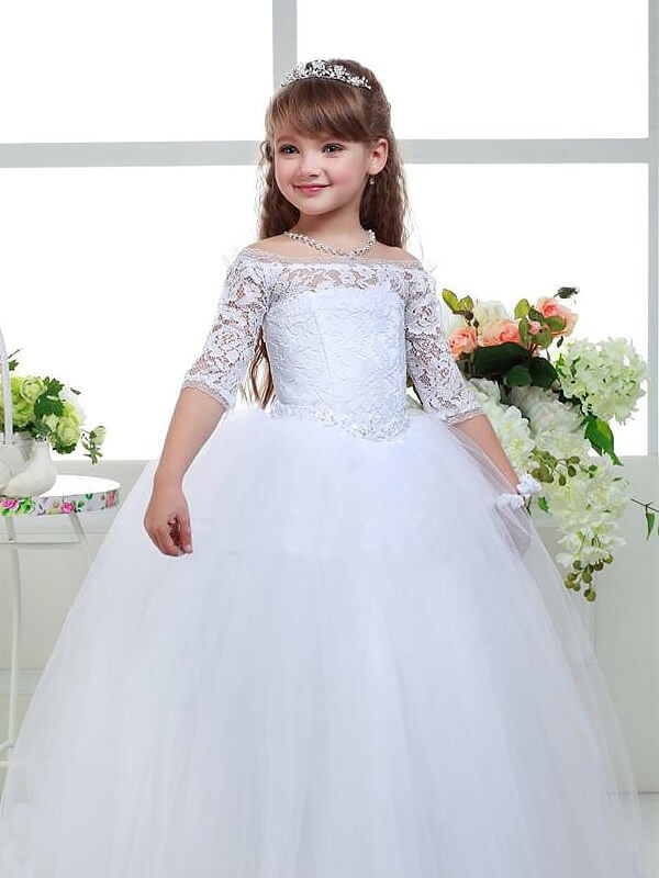 Ball Gown Lace Off-the-Shoulder 1/2 Sleeves Floor-Length Tulle Flower Girl Dresses