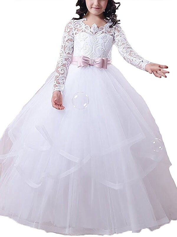 Ball Gown Lace Jewel Long Sleeves Floor-Length Tulle Flower Girl Dresses
