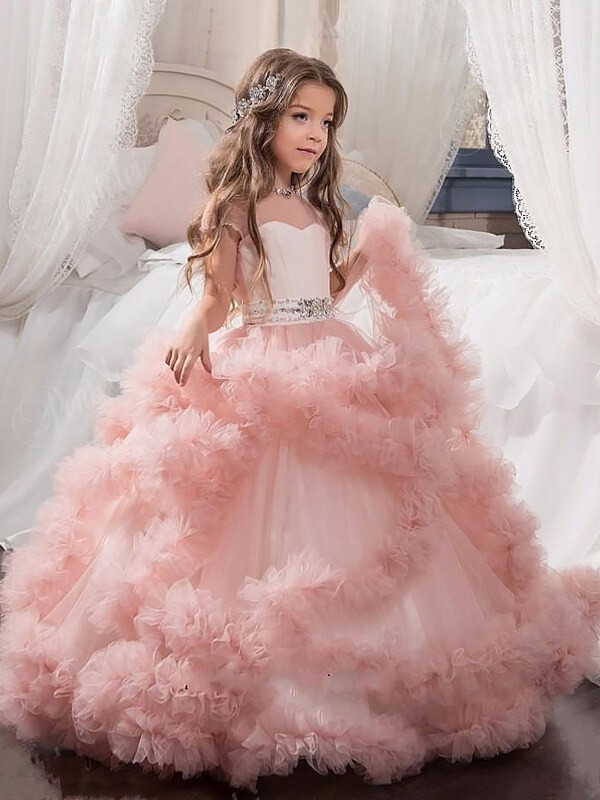 Ball Gown Crystal Jewel Short Sleeves Floor-Length Tulle Flower Girl Dresses