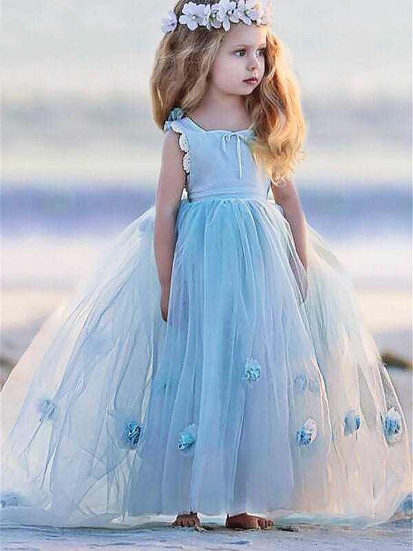 Ball Gown Hand-Made Flower Bateau Sleeveless Floor-Length Tulle Flower Girl Dresses