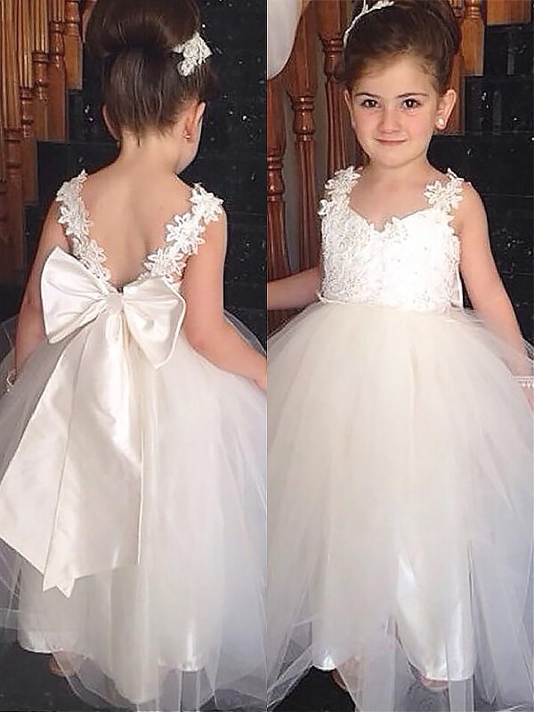 Ball Gown Bowknot Sweetheart Sleeveless Floor-Length Tulle Flower Girl Dresses