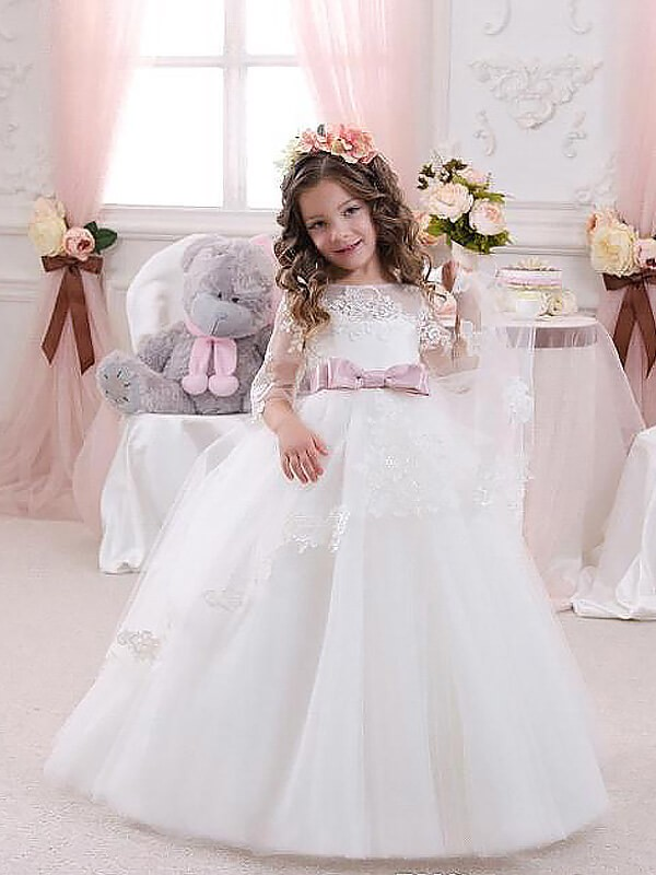 Ball Gown Lace Jewel 1/2 Sleeves Floor-Length Tulle Flower Girl Dresses