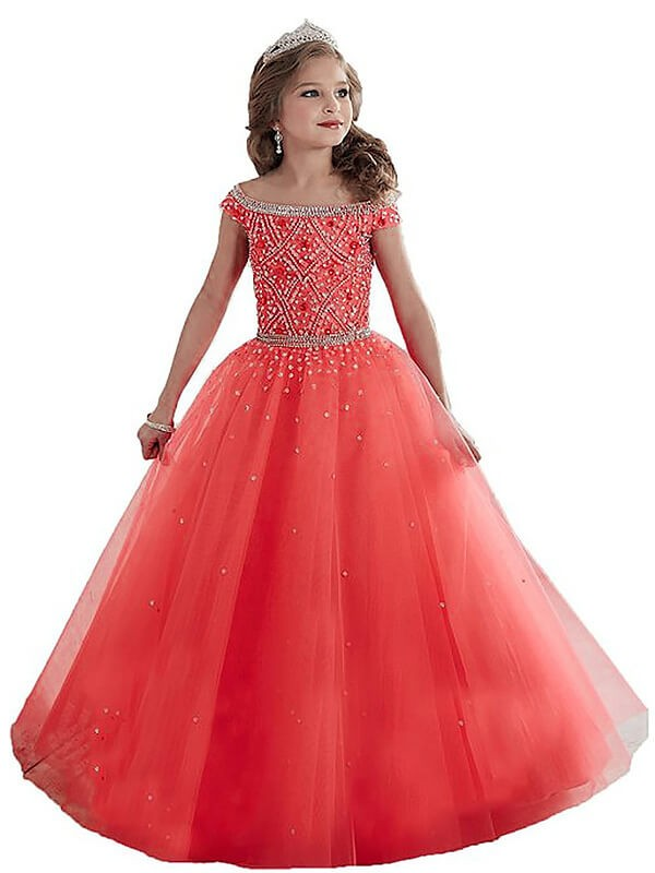 Ball Gown Beading Off-the-Shoulder Sleeveless Floor-Length Tulle Flower Girl Dresses