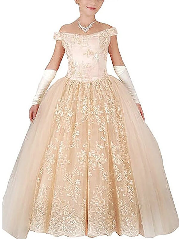 Ball Gown Applique Off-the-Shoulder Sleeveless Floor-Length Tulle Flower Girl Dresses
