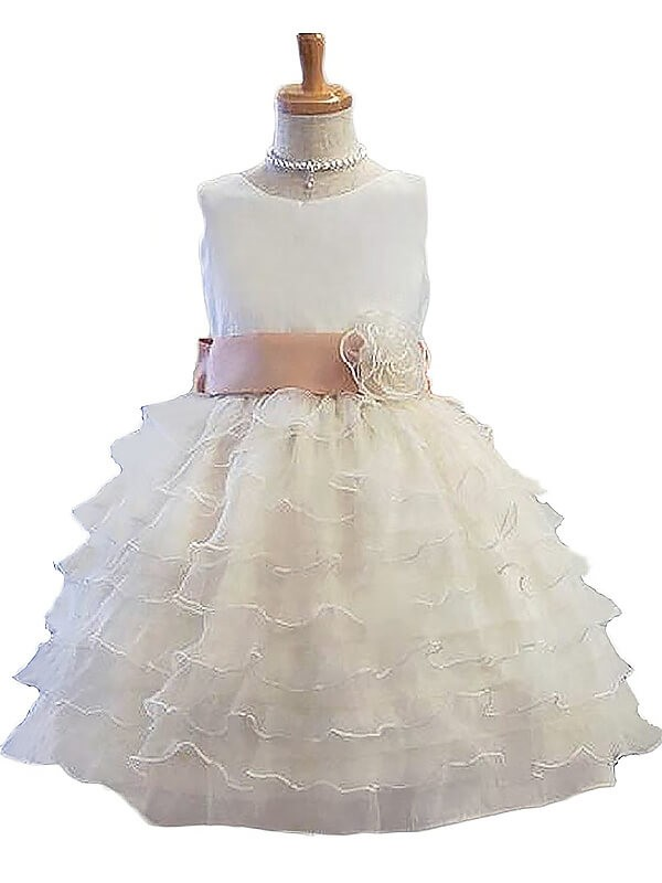 A-Line/Princess Hand-Made Flower Jewel Sleeveless Short/Mini Tulle Flower Girl Dresses
