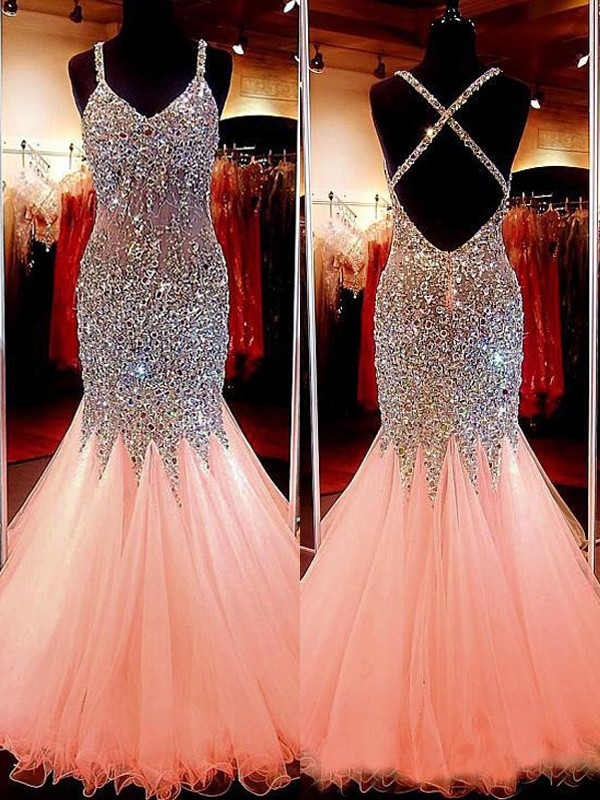 Trumpet/Mermaid Sequin V-neck Sleeveless Floor-Length Tulle Dresses