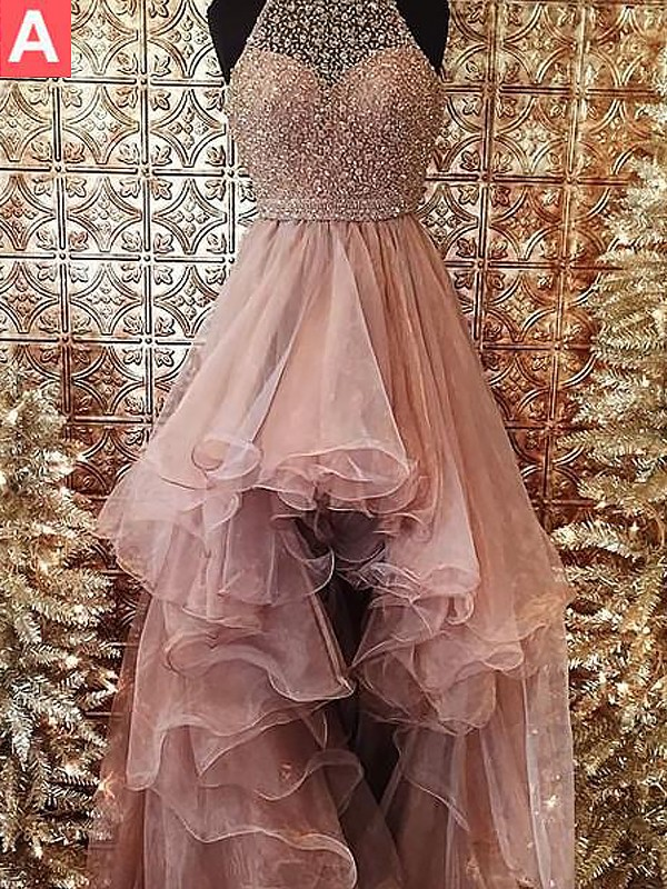 Ball Gown Beading Halter Sleeveless Asymmetrical Tulle Dresses