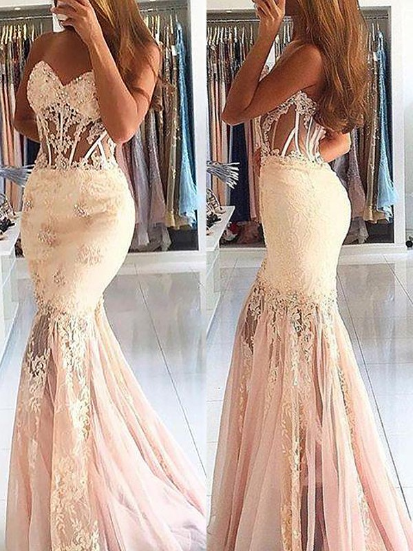 Trumpet/Mermaid Lace Sweetheart Sleeveless Sweep/Brush Train Tulle Dresses