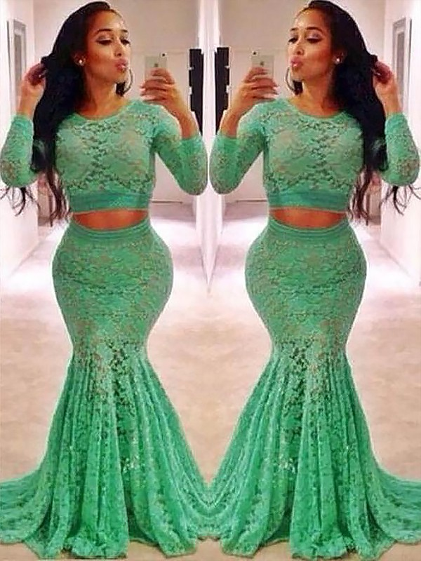 Trumpet/Mermaid Ruffles Scoop Long Sleeves Sweep/Brush Train Lace Two Piece Dresses