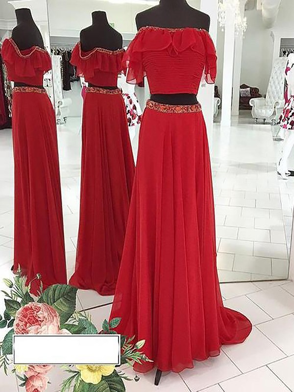 A-Line/Princess Beading Off-the-Shoulder Sleeveless Floor-Length Chiffon Two Piece Dresses