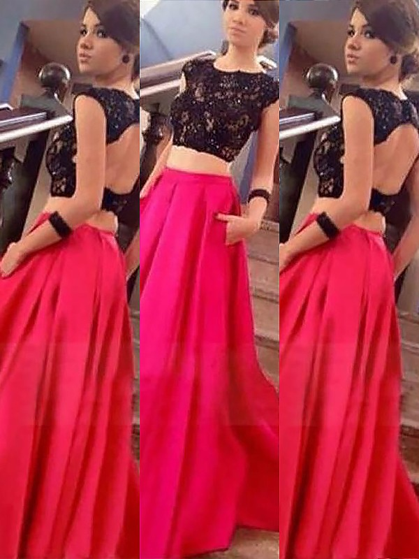A-Line/Princess Lace Bateau Sleeveless Floor-Length Satin Two Piece Dresses