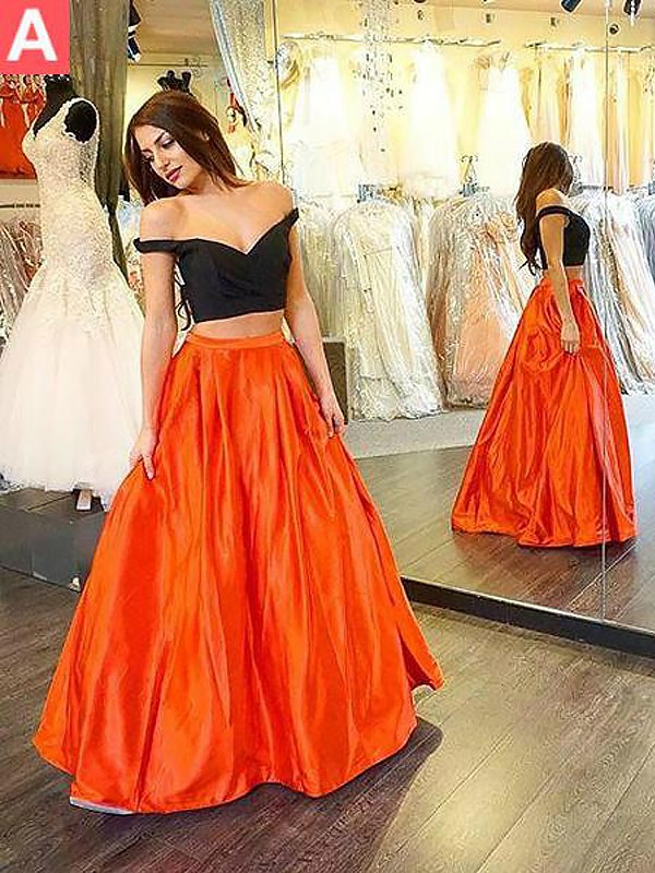 A-Line/Princess Ruffles Off-the-Shoulder Sleeveless Floor-Length Taffeta Two Piece Dresses