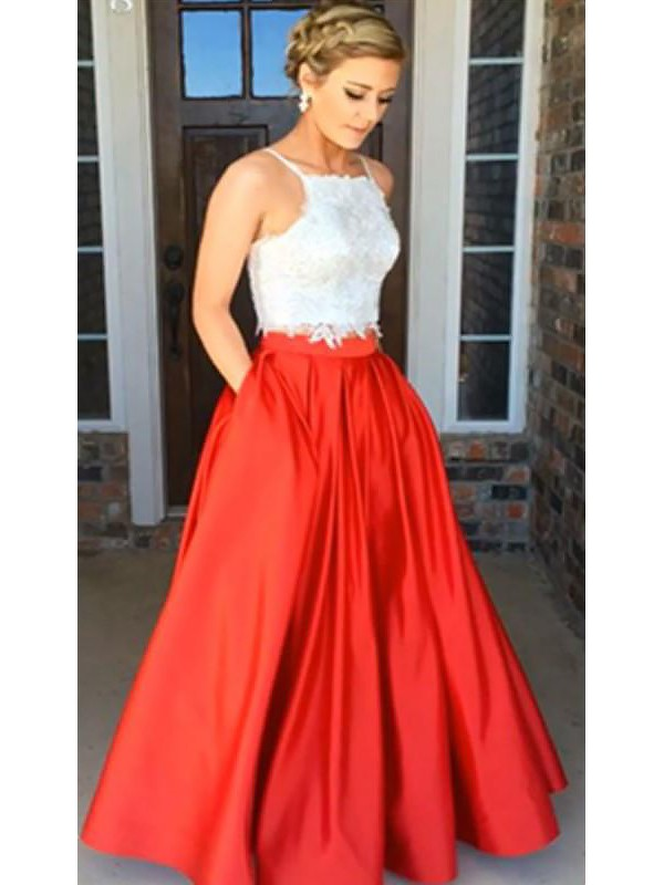 A-Line Spaghetti Straps Sleeveless Satin Floor-Length With Lace Two Piece Dresses