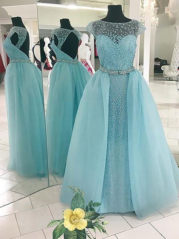 Ball Gown Beading Bateau Sleeveless Floor-Length Tulle Dresses