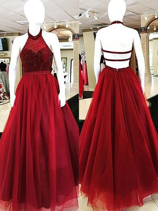 Ball Gown Beading Halter Sleeveless Floor-Length Tulle Dresses