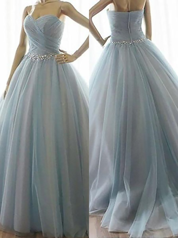 Ball Gown Beading Sweetheart Sleeveless Floor-Length Tulle Dresses