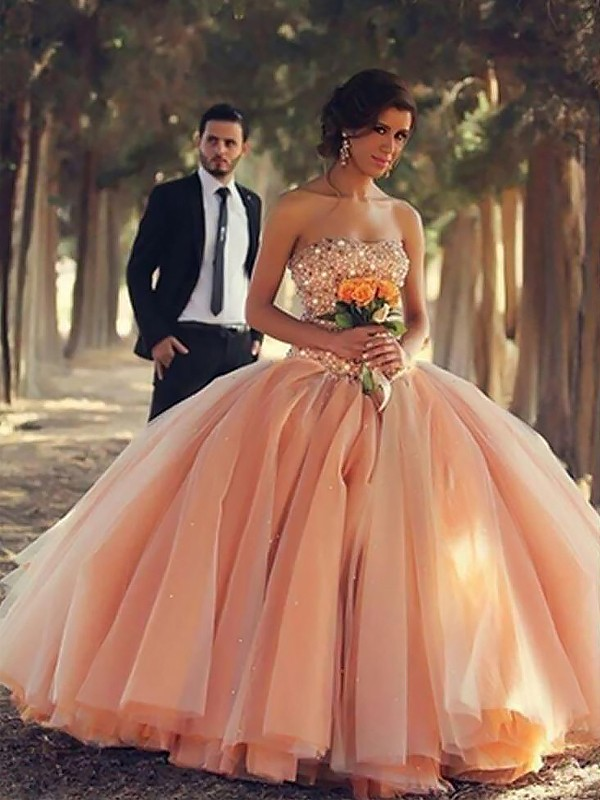 Ball Gown Beading Strapless Sleeveless Floor-Length Tulle Dresses