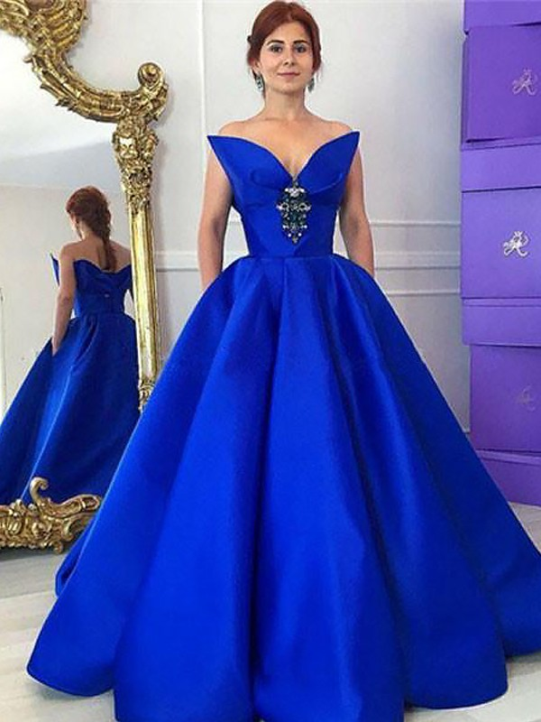 Ball Gown Ruffles V-neck Sleeveless Floor-Length Satin Dresses