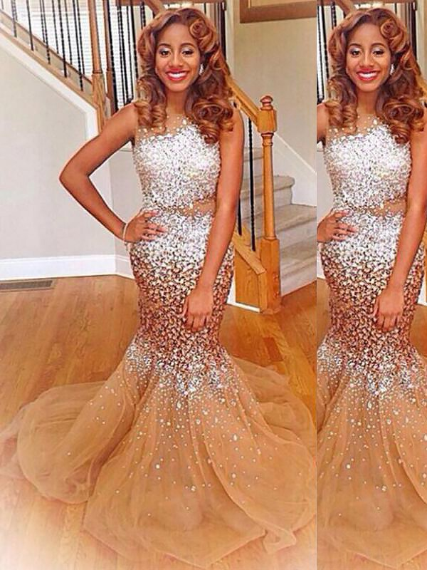 Trumpet/Mermaid Sequin Bateau Sleeveless Sweep/Brush Train Tulle Dresses
