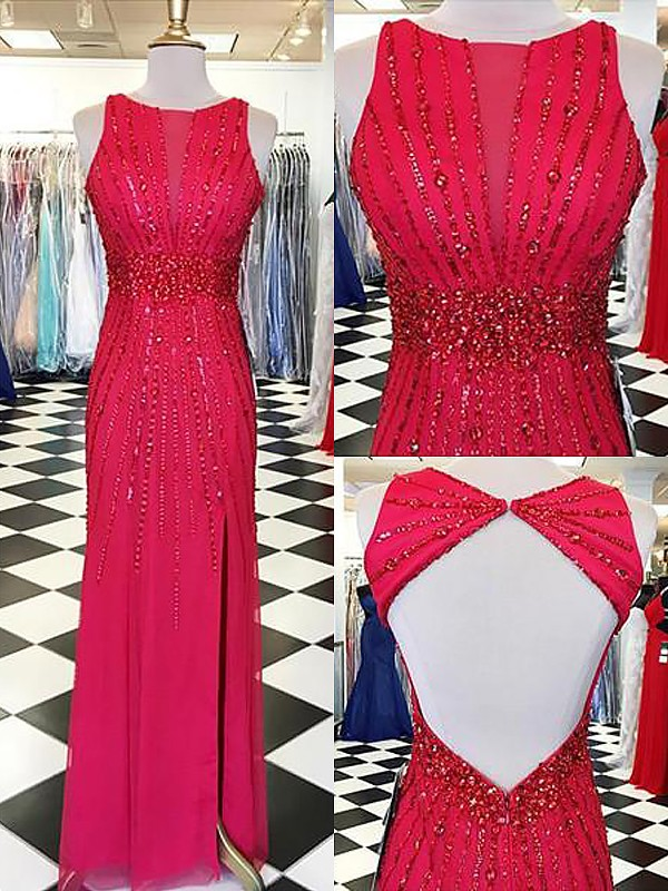 Sheath/Column Beading Bateau Sleeveless Floor-Length Chiffon Dresses