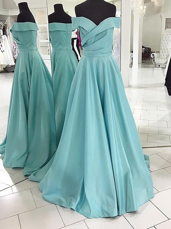 A-Line/Princess Ruched Off-the-Shoulder Sleeveless Sweep/Brush Train Satin Dresses