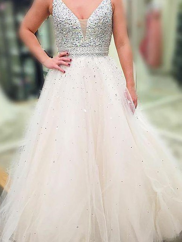 A-Line/Princess Beading V-neck Sleeveless Floor-Length Tulle Dresses