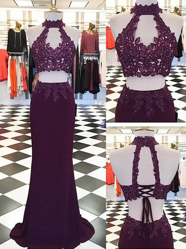 Sheath/Column Applique Halter Sleeveless Floor-Length Spandex Two Piece Dresses
