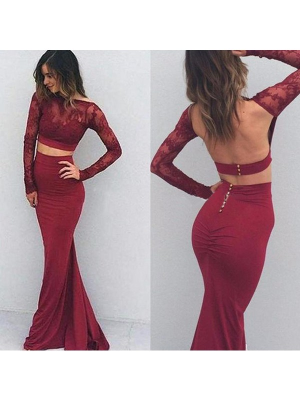 Trumpet/Mermaid Applique Bateau Long Sleeves Floor-Length Spandex Dresses
