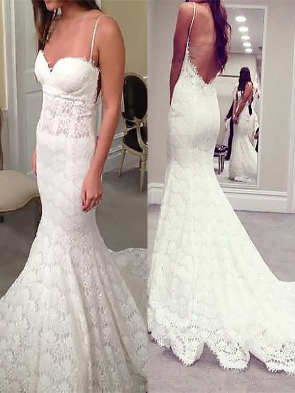 Trumpet/Mermaid Spaghetti Straps Sleeveless Court Train Lace Wedding Dresses