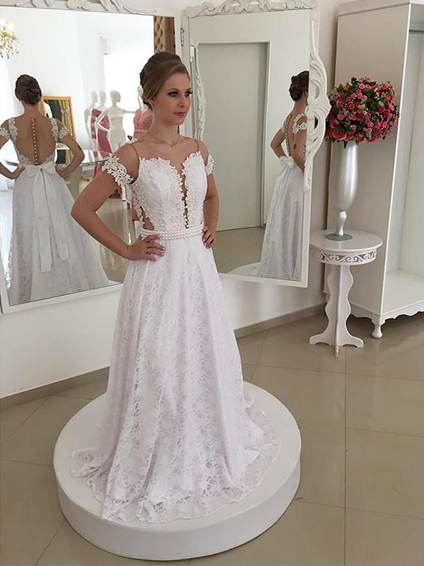 A-Line/Princess Scoop Short Sleeves Sweep/Brush Train Lace Wedding Dresses