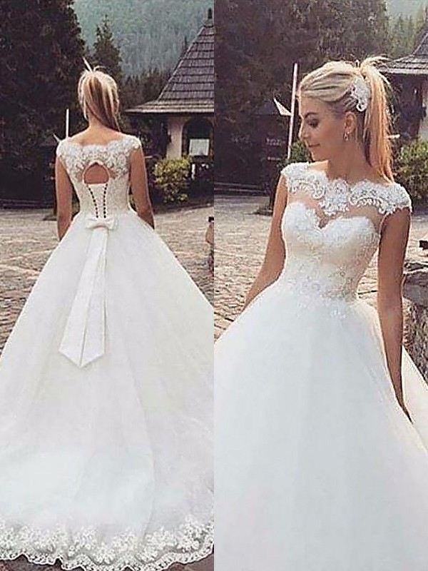 Ball Gown Bateau Sleeveless Court Train Tulle Wedding Dresses