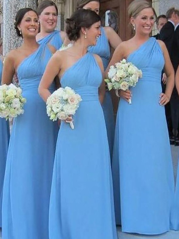 Sheath/Column One-Shoulder Sleeveless Floor-Length Chiffon Bridesmaid Dresses