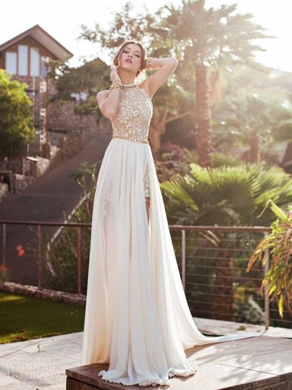 A-Line/Princess Lace Halter Sleeveless Sweep/Brush Train Chiffon Wedding Dresses