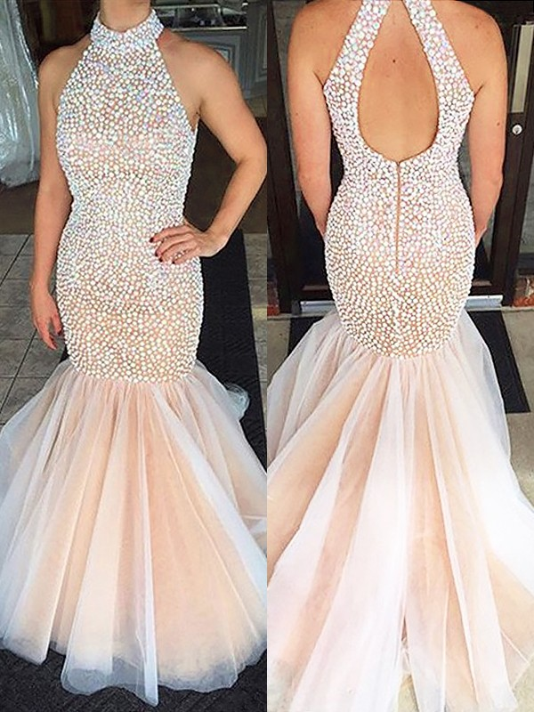 Trumpet/Mermaid Beading Halter Sleeveless Sweep/Brush Train Tulle Dresses