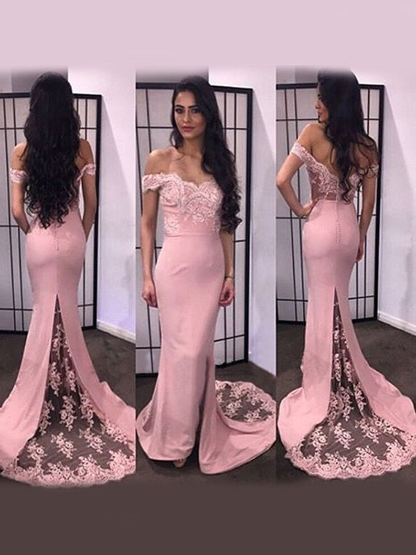 Trumpet/Mermaid Lace Off-the-Shoulder Long Sleeves Sweep/Brush Train Satin Dresses