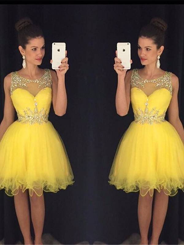 A-Line/Princess Beading Scoop Sleeveless Short/Mini Tulle Dresses