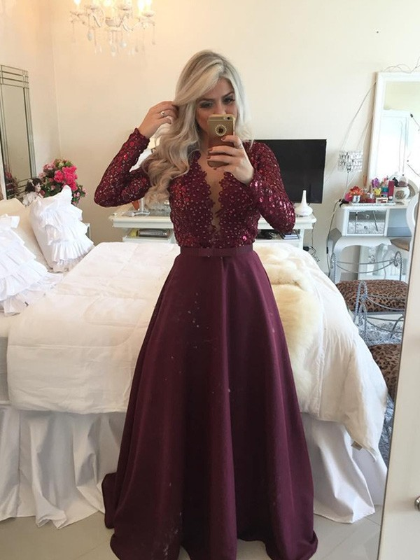 A-Line/Princess Sequin Scoop Long Sleeves Floor-Length Satin Dresses