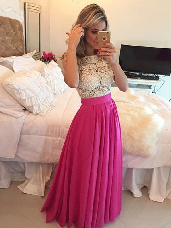 A-Line/Princess Lace Scoop Sleeveless Floor-Length Chiffon Dresses