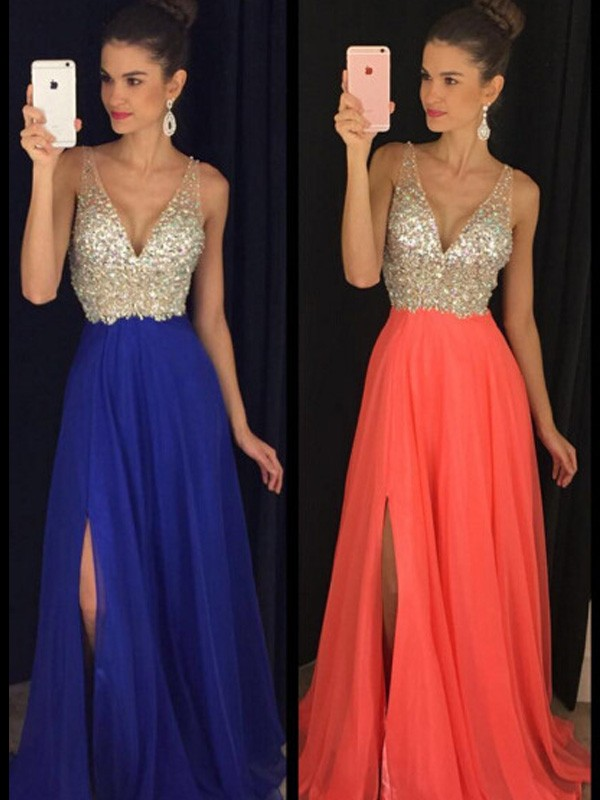 A-Line/Princess Beading V-neck Sleeveless Floor-Length Chiffon Dresses