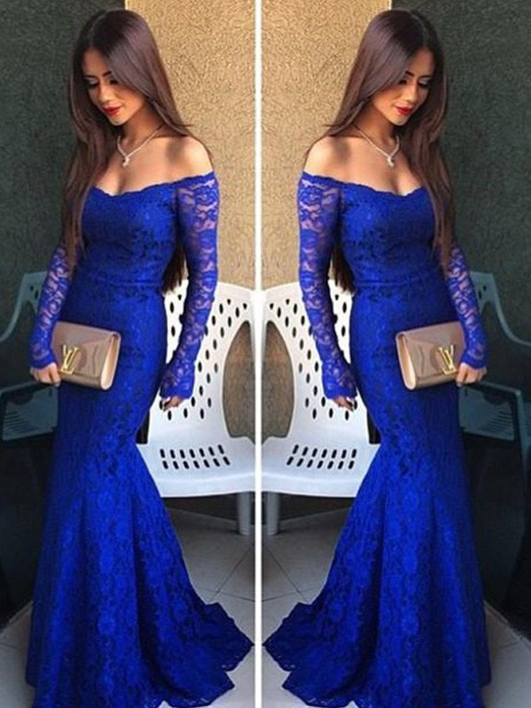 Trumpet/Mermaid Lace Off-the-Shoulder Long Sleeves Sweep/Brush Train Lace Dresses