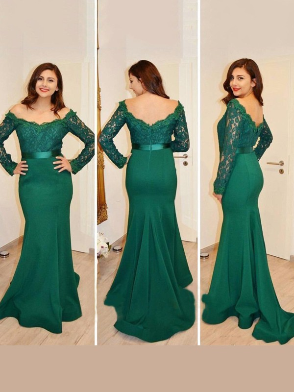 Trumpet/Mermaid Applique Off-the-Shoulder Long Sleeves Floor-Length Satin Dresses