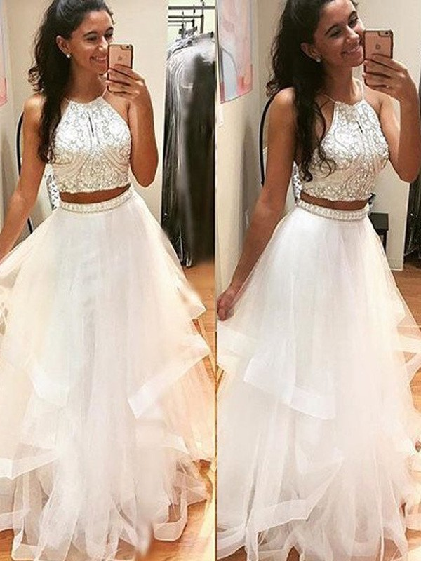 A-Line/Princess Beading Halter Sleeveless Floor-Length Tulle Dresses