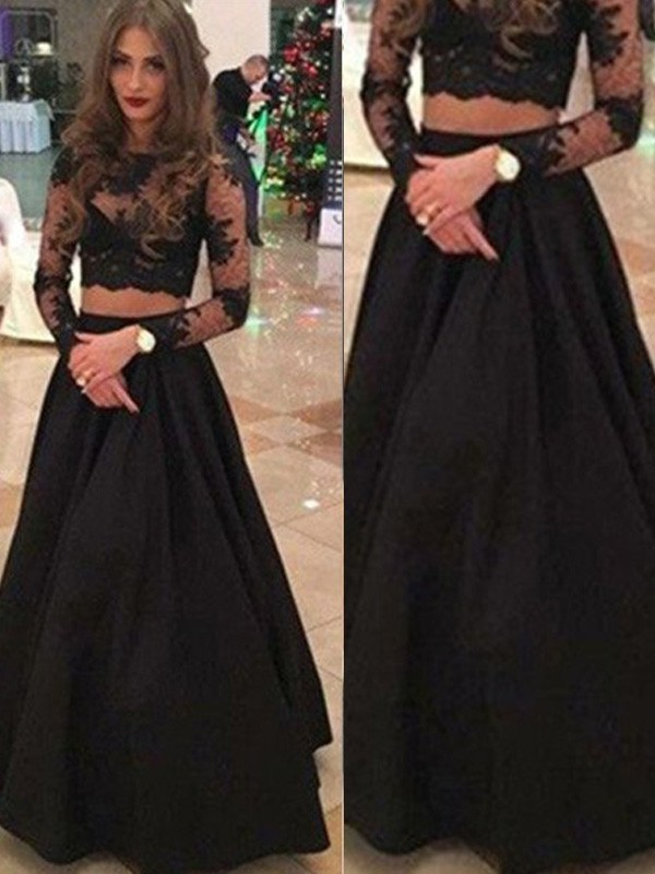 A-Line/Princess Lace Scoop Long Sleeves Floor-Length Lace Dresses