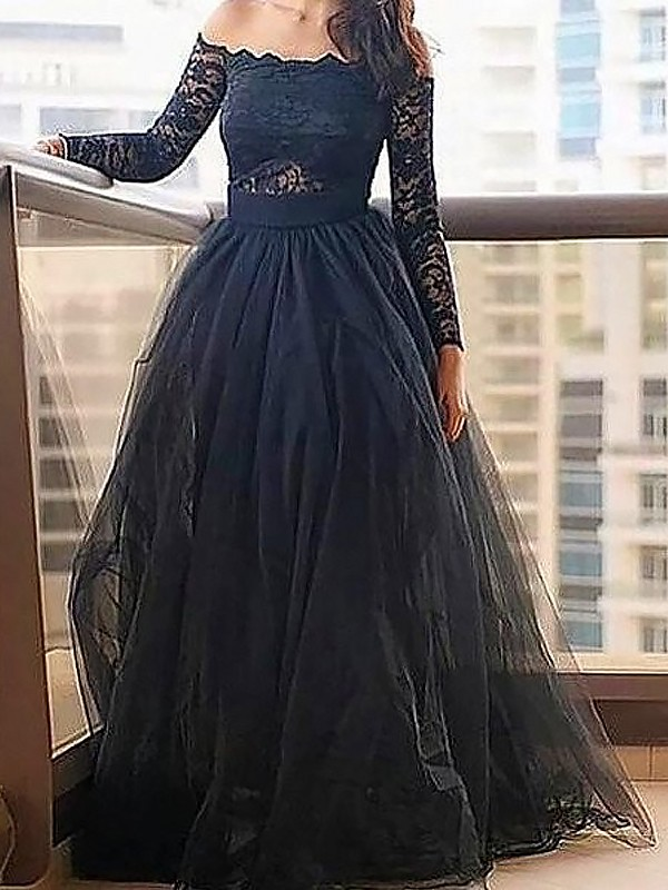 A-Line/Princess Lace Off-the-Shoulder Long Sleeves Floor-Length Tulle Dresses
