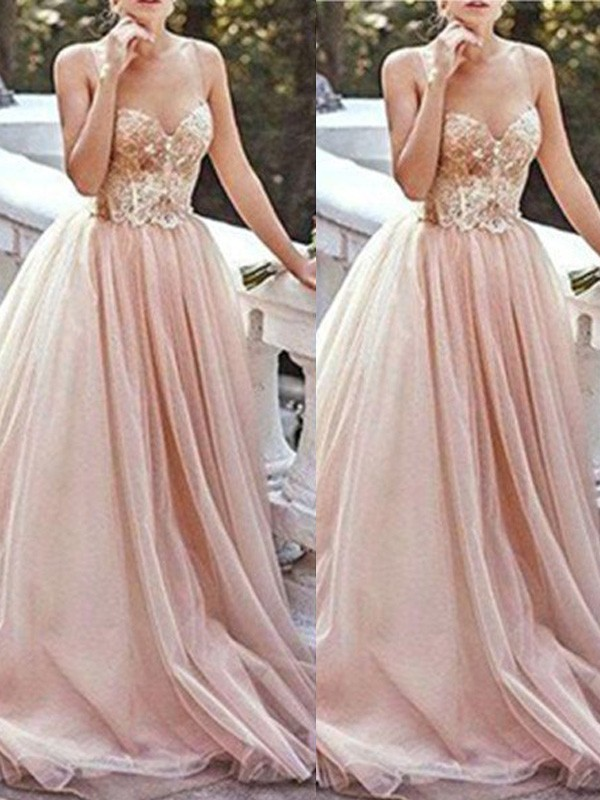 A-Line/Princess Beading Sweetheart Sleeveless Sweep/Brush Train Tulle Dresses