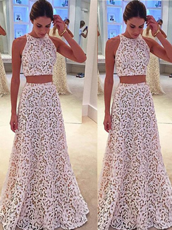 A-Line/Princess Lace Scoop Sleeveless Floor-Length Lace Dresses