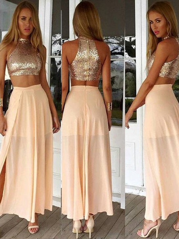 A-Line/Princess Sequin High Neck Sleeveless Ankle-Length Chiffon Dresses