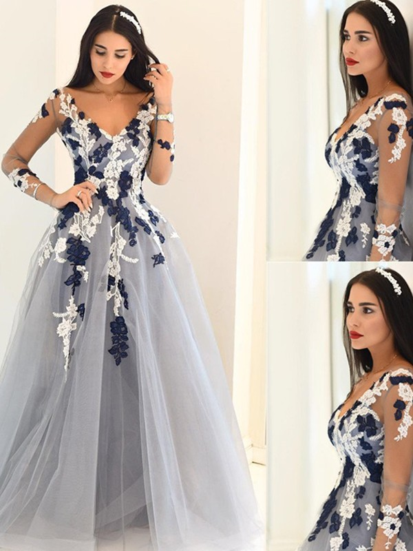 A-Line/Princess Applique V-neck Long Sleeves Floor-Length Tulle Dresses