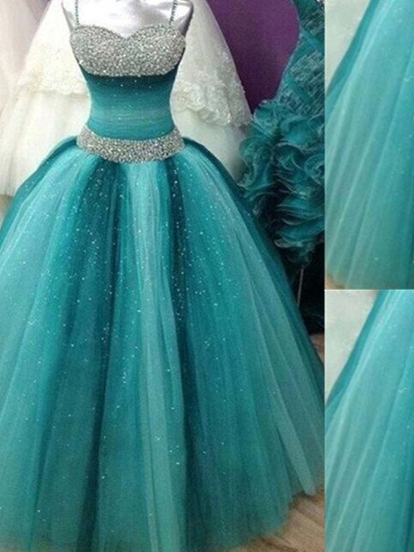 Ball Gown Beading Spaghetti Straps Sleeveless Floor-Length Tulle Dresses
